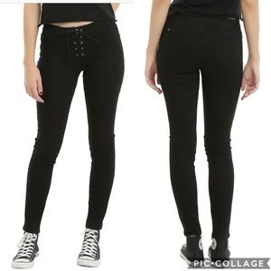 BlackHeart Hot Topic Lace Up Skinny Jeans